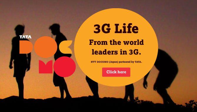 3G Internet Connection Tata DoCoMo Banner