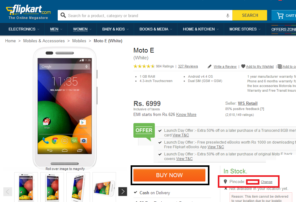 How to buy Moto E On Flipkart - Step 3