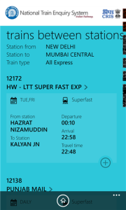 IRCTC App for Train Between Stations