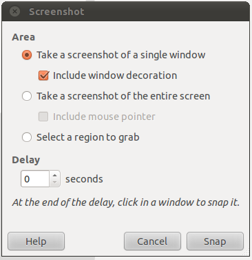 capture screenshot Ubuntu Linux OS- GIMP